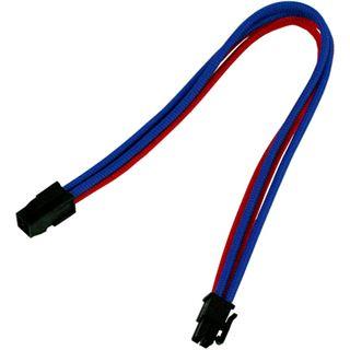 0,30m Nanoxia 4-Pin P4 Verlängerung blau/rot