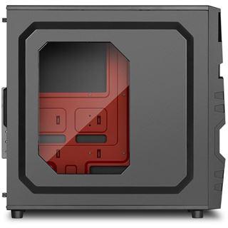 Sharkoon VG5-W mit Sichtfenster Midi Tower ohne Netzteil schwarz/rot