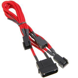 BitFenix Molex zu 3x 3-Pin 7V Adapter 20cm - sleeved rot/schwarz