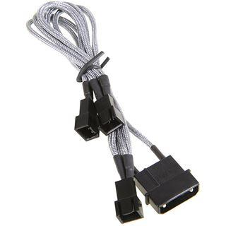 BitFenix Molex zu 3x 3-Pin 7V Adapter 20cm - sleeved silber/schwarz