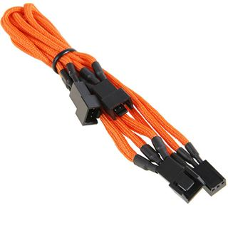 BitFenix 3-Pin zu 3x 3-Pin Adapter 60cm - sleeved orange/schwarz