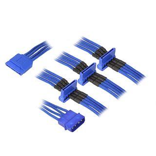 BitFenix Molex zu 4x SATA Adapter 20 cm - sleeved blau/blau