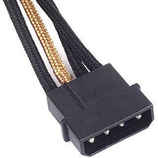 Silverstone 4-Pol-Molex zu 4x SATA Kabel, 300mm - schwarz/gold