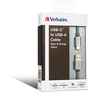 1.20m Verbatim USB2.0 Anschlusskabel USB A Stecker auf USB C Stecker