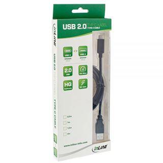 2.00m InLine USB2.0 Anschlusskabel USB A Stecker auf USB C Stecker