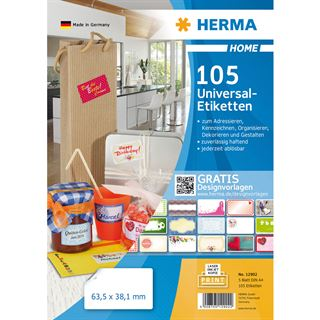 HERMA HOME Universal-Etiketten, 63,5 x 38,1 mm, weiß