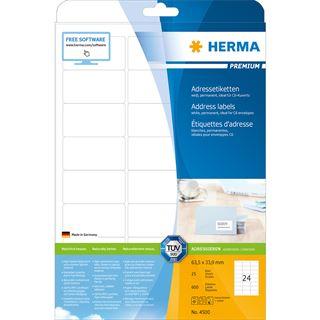 HERMA Universal-Etiketten PREMIUM, 63,5 x 33,9 mm, weiß