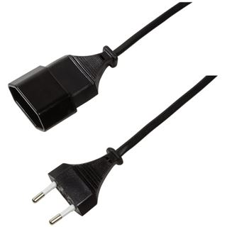 1.00m LogiLink Stromadapterkabel CEE Stecker auf CEE Buchse Schwarz
