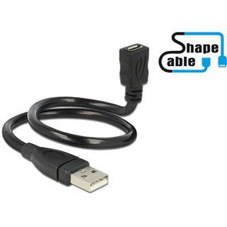 0.35m Delock USB2.0 Adapterkabel USB A Stecker auf USB mikroB Buchse