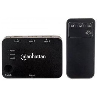 Manhattan MH 4K Splitter,HDMI,1xHDMI-Female3xHDMI-Female,Black,USB