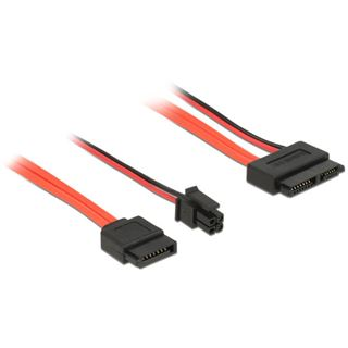 0.30m Delock SATA 6Gb/s Adapterkabel SATA Buchse + SATA Strom Stecker