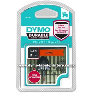 Dymo D1 Vinyl-Schriftband HP schwarz/orange 12 mm x 3 m