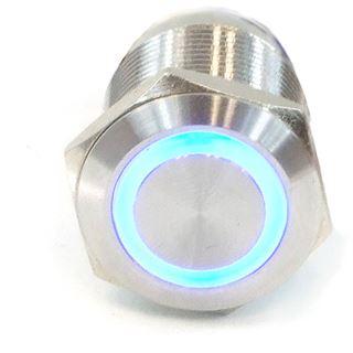 Phobya Vandalismus Klingeltaster 19mm Edelstahl, blau Ring beleuchtet