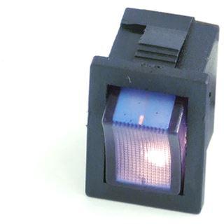 Phobya Wippschalter Eckig - beleuchtet blau - 1-polig AN/AUS schwarz