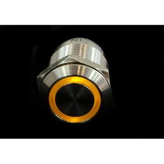 Phobya Vandalismus Klingeltaster 19mm Edelstahl, gelb Ring beleuchtet