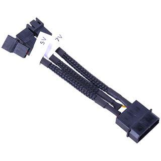Phobya Adapter 4Pin Molex auf 3Pin 5V/7V/12V 10cm - Schwarz