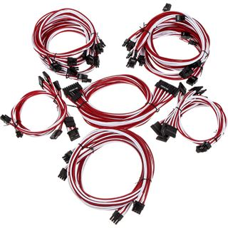 Super Flower Sleeve Cable Kit Pro weiß/rot