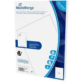 MediaRange Etiketten 210x297mm 50 Stück weiß