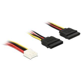 0.30m Delock Stromkabel Adapter SATA 4pol Buchse Floppy auf 2xSATA