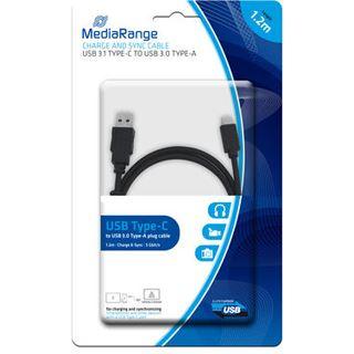 1.20m MediaRange USB3.0 Anschlusskabel Super-Speed USB C Stecker auf