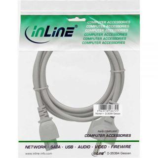 (€9,80*/1m) 0.50m InLine Stromkabel Schutzkontakt Stecker auf C5