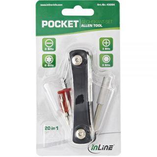 InLine Taschen Schraubendreher-Set mit Bithalter 20in1
