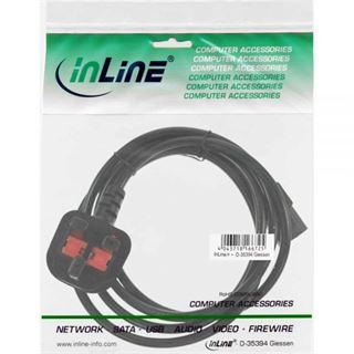 1.00m InLine Stromkabel Stecker England auf Kaltgeräte Stecker