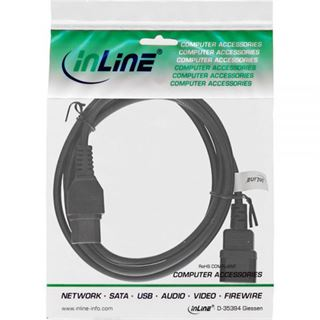 1.80m InLine Stromkabel Verlängerungskabel C14 Buchse auf C15