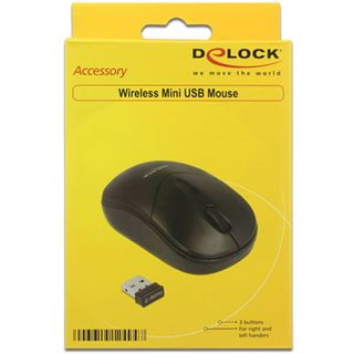 Delock Mini Maus USB schwarz (kabellos)