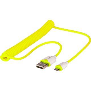 1.60m Lindy USB2.0 Spiralkabel USB A Stecker auf USB mikroB Stecker