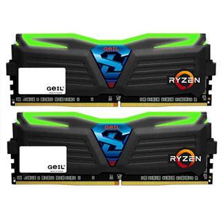 16GB GeIL Ryzen Super Luce grün LED schwarz DDR4-2400 DIMM Dual