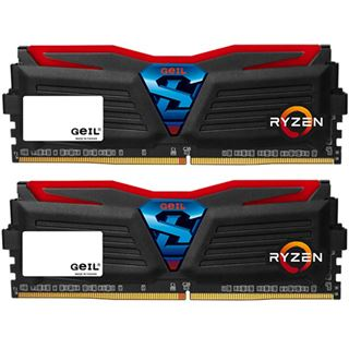 8GB GeIL Ryzen Super Luce rote LED schwarz DDR4-2400 DIMM CL16 Dual
