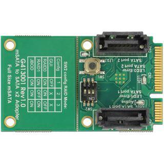 Delock Konverter mSATA-Stecker -> 2xSATA 7Pin-St. m. RAID
