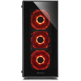 Sharkoon TG5 LED rot mit Sichtfenster Midi Tower ohne Netzteil schwarz