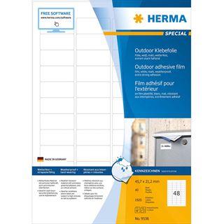 HERMA Outdoor Folien-Etiketten SPECIAL, 45,7 x 21,2 mm, weiß