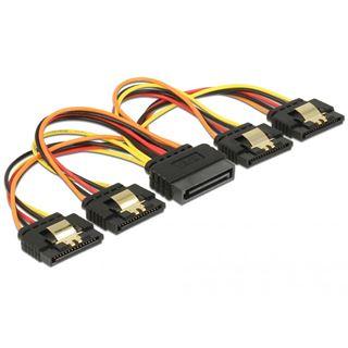 0.15m Delock Strom Adapterkabel SATA SATA Stecker auf 4xSATA Buchse