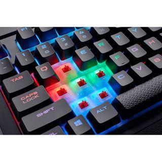 Corsair K68 Gaming Tastatur, MX-Red, RGB LED - schwarz