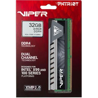 32GB Patriot Viper 4 Elite grau DDR4-2133 DIMM CL14 Dual Kit