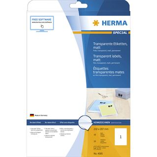 HERMA Folien-Etiketten SPECIAL, 210 x 297 mm, transparent