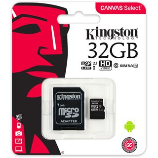 32 GB Kingston Canvas Select microSDHC Class 10 UHS-I Retail inkl.