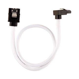 Corsair Premium Sleeved SATA-Kabel gewinkelt 30cm, weiss