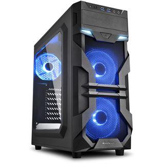 Sharkoon VG7-W LED blau mit Sichtfenster Midi Tower ohne Netzteil