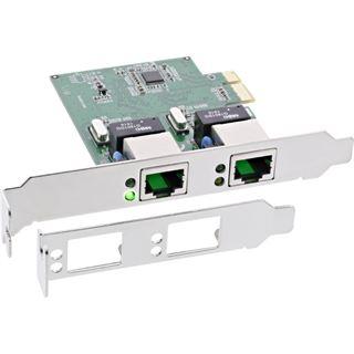 InLine Dual Gigabit Netzwerkkarte, PCI Express, 2x 1GBit/s, PCIe x1,