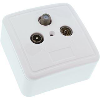 InLine Antennensteckdose AP/UP Set Koax Stecker + Koax Buchse auf F