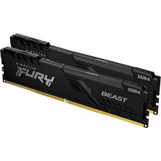 8GB (2x 4096MB) Kingston Fury Beast schwarz DDR4-2666MHz CL16