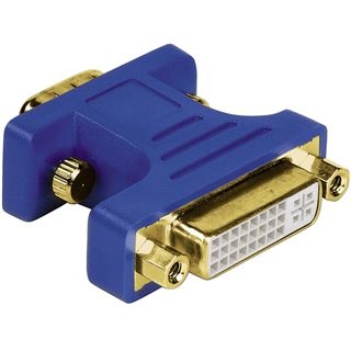 Hama Adapter VGA 15pol Stecker auf DVI 24+5 Buchse Blau