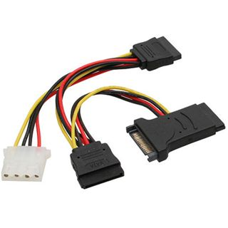 InLine SATA Stromadapterkabel, , SATA St/Bu an 2x SATA St + 5,25 St