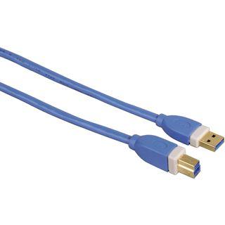 1.80m Hama USB3.0 Anschlusskabel USB A Stecker auf USB B Stecker Blau