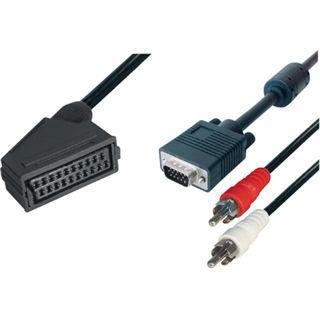 0,5m Scart Anschlusskabel schwarz 20pol Buchse auf VGA Stecker + 2x