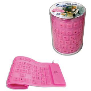 LogiLink Flexible Waterproof Keyboard PS/2 & USB Deutsch pink